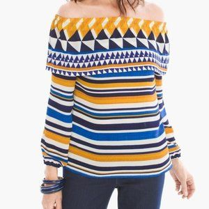 NEW Chico's Graphic Off-the-Shoulder Top